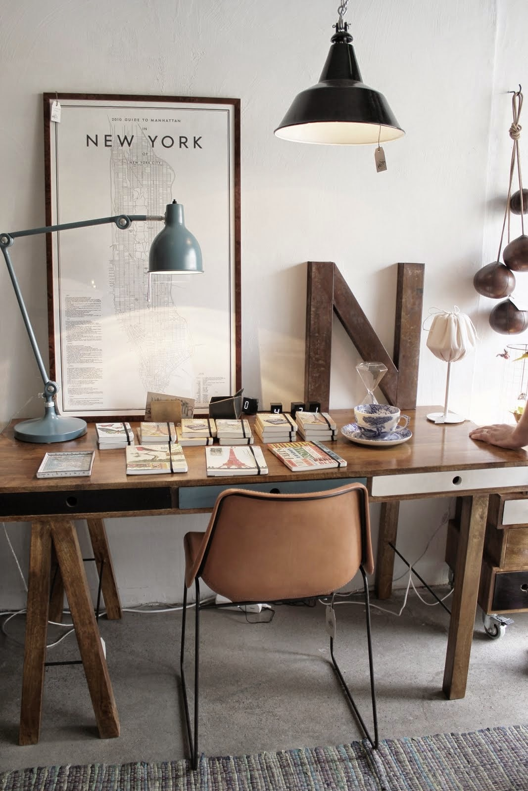 Industrial Sawhorse Office. Industrial Decor Ideas