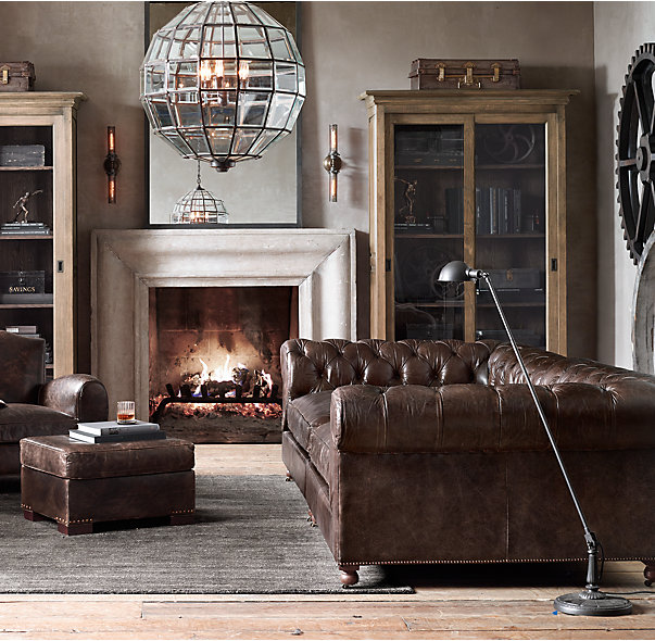 Traditional Industrial Living Room